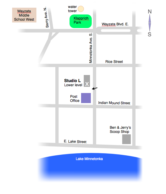 Directions to Mark Luger's private music studio in Wayzata, MN - Studio L