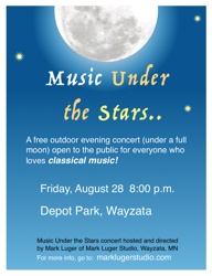 The poster for the Music Under the Stars concert in Wayzata, MN August 28, 2015.