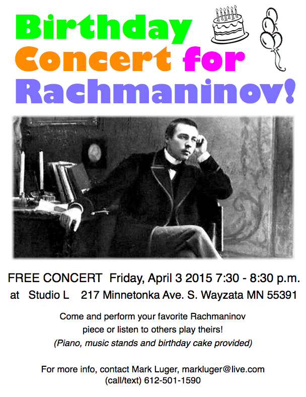 A Rachmaninov Birthday Concert in Studio L in Wayzata on April 3, 2015.