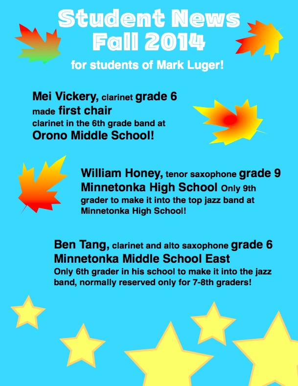 Mark Luger's students given school honors, fall 2014<meta name=